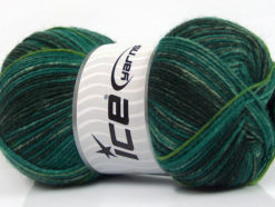 Lot of 4 x 100gr Skeins Ice Yarns SALE SOCK YARN (75% Superwash Wool) Yarn Green Shades