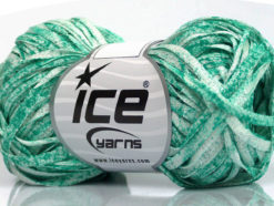 Lot of 8 Skeins Ice Yarns VISCOSE SHINE BULKY (82% Viscose) Yarn Emerald Green White