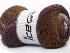 Lot of 4 x 100gr Skeins Ice Yarns PRIMADONNA (50% Wool) Yarn Purple Brown White