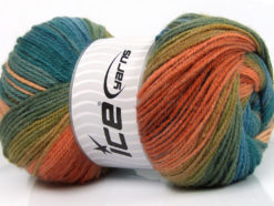 Lot of 4 x 100gr Skeins Ice Yarns MAGIC LIGHT Yarn Salmon Green Shades Turquoise Blue