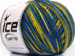 Lot of 8 Skeins Ice Yarns WOOL DK COLOR (50% Wool) Yarn Blue Shades Green Yellow