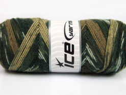 Lot of 4 x 100gr Skeins Ice Yarns BONITO ETHNIC (50% Wool) Yarn Grey Shades Brown Shades White