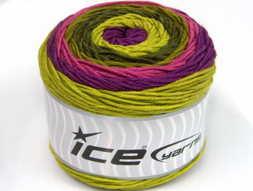 Lot of 2 x 200gr Skeins Ice Yarns CAKES ARAN Yarn Green Shades Purple Orchid