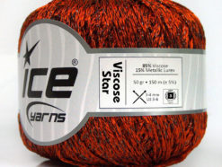 Lot of 6 Skeins Ice Yarns VISCOSE STAR (85% Viscose) Yarn Orange Black