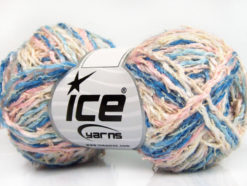 Lot of 8 Skeins Ice Yarns PALERMO COTONE (35% Cotton) Yarn Blue Shades Pink Cream