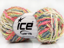 Lot of 8 Skeins Ice Yarns PALERMO COTONE (35% Cotton) Yarn Pink Light Green Light Grey Cream