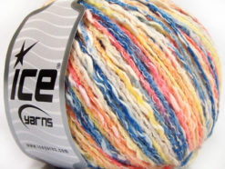 Lot of 8 Skeins Ice Yarns PASTEL COTTON (50% Cotton) Yarn Blue Yellow Salmon White