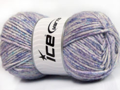 Lot of 4 x 100gr Skeins Ice Yarns WOOL MELANGE (30% Wool) Yarn Lilac Shades Turquoise White