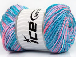 Lot of 4 x 100gr Skeins Ice Yarns DREAM Yarn Turquoise Shades Salmon Lilac