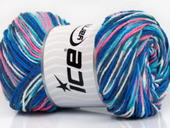 Lot of 4 x 100gr Skeins Ice Yarns DREAM Yarn Blue Shades Navy Pink White