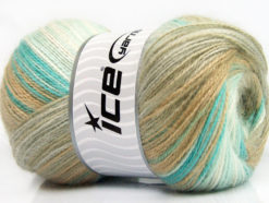 Lot of 4 x 100gr Skeins Ice Yarns ANGORA ACTIVE (25% Angora) Yarn Camel Beige Turquoise White