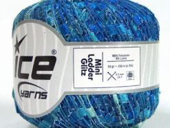 Lot of 6 Skeins Ice Yarns Trellis MINI LADDER GLITZ Yarn Blue Shades Turquoise