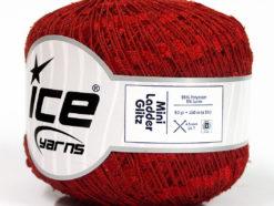Lot of 6 Skeins Ice Yarns Trellis MINI LADDER GLITZ Hand Knitting Yarn Red