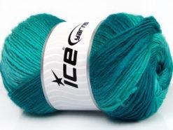 Lot of 4 x 100gr Skeins Ice Yarns LANA BELLA (30% Wool) Yarn Turquoise Shades