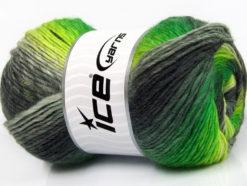 Lot of 4 x 100gr Skeins Ice Yarns LANA BELLA (30% Wool) Yarn Neon Green Grey Shades