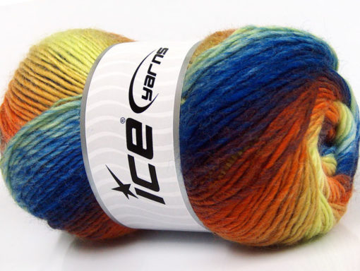 Lot of 4 x 100gr Skeins Ice Yarns LANA BELLA (30% Wool) Yarn Blue Shades Orange Yellow Maroon