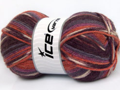 Lot of 4 x 100gr Skeins Ice Yarns JACQUARD (50% Wool) Yarn Maroon Lilac Shades Cafe Latte