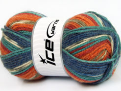 Lot of 4 x 100gr Skeins Ice Yarns JACQUARD (50% Wool) Yarn Orange Shades Turquoise Shades Khaki