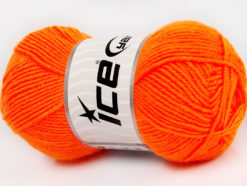 Lot of 8 Skeins Ice Yarns BABY WOOL (40% Wool) Hand Knitting Yarn Neon Orange
