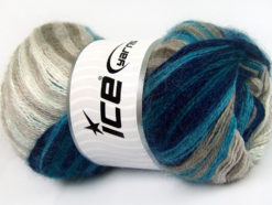 Lot of 4 x 100gr Skeins Ice Yarns MOHAIR ACTIVE (50% Mohair) Yarn Navy Turquoise Beige White