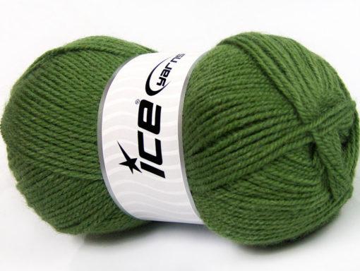 Lot of 4 x 100gr Skeins Ice Yarns FAVOURITE WOOL (50% Wool) Yarn Green