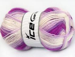 Lot of 4 x 100gr Skeins Ice Yarns BABY WOOL DESIGN (25% Wool) Yarn Purple Lilac White