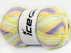 Lot of 4 x 100gr Skeins Ice Yarns BABY WOOL DESIGN (25% Wool) Yarn Lilac Mint Green Yellow White