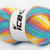 Lot of 4 x 100gr Skeins Ice Yarns BABY WOOL DESIGN (25% Wool) Yarn Turquoise Blue Pink Yellow White