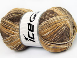 Lot of 4 x 100gr Skeins Ice Yarns COTTON SPRAY (50% Cotton) Yarn Brown Shades