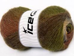 Lot of 4 x 100gr Skeins Ice Yarns ALPACA ACTIVE (20% Alpaca 20% Wool) Yarn Brown Shades Green Shades