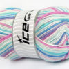 Lot of 4 x 100gr Skeins Ice Yarns BABY WOOL DESIGN (25% Wool) Yarn Turquoise Blue Lilac White Pink