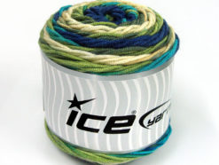 Lot of 3 x 100gr Skeins Ice Yarns CAKES BLUES Yarn Turquoise Navy Cream Green