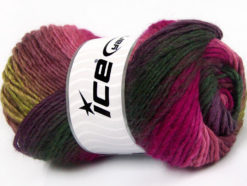 Lot of 4 x 100gr Skeins Ice Yarns AMBIENTE (50% Wool) Yarn Purple Dark Green Fuchsia Pink