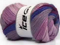 Lot of 4 x 100gr Skeins Ice Yarns MERINO BATIK (30% Merino Wool) Yarn Purple Lilac Shades Orchid