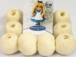 Lot of 8 Skeins Ice Yarns AMIGURUMI COTTON 25 (50% Cotton) Yarn Cream