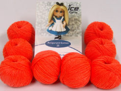 Lot of 8 Skeins Ice Yarns AMIGURUMI COTTON 25 (50% Cotton) Yarn Neon Orange