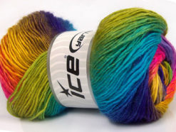 Lot of 4 x 100gr Skeins Ice Yarns RAINBOW Yarn Green Turquoise Blue Gold Pink