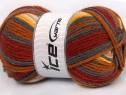 Lot of 4 x 100gr Skeins Ice Yarns SALE WINTER (75% Superwash Wool) Yarn Copper Grey Cream Yellow