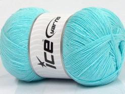 Lot of 4 x 100gr Skeins Ice Yarns LORENA SUPERFINE (55% Cotton) Yarn Light Turquoise
