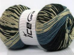 Lot of 2 x 150gr Skeins Ice Yarns JACQUARD WOOL (30% Wool) Yarn Black Smoke Blue Cream