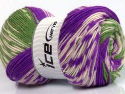 Lot of 2 x 150gr Skeins Ice Yarns JACQUARD WOOL (30% Wool) Yarn Purple Green Cream