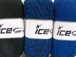 Lot of 3 x 100gr Skeins Ice Yarns OMBRE Hand Knitting Yarn Black Blue