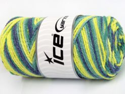 Lot of 2 x 200gr Skeins Ice Yarns SAVER CHAIN COLOR Yarn Green Shades Jeans Blue Neon Yellow