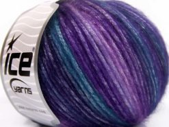 Lot of 8 Skeins Ice Yarns PICASSO Hand Knitting Yarn Purple Shades Turquoise