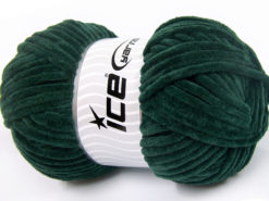 Lot of 4 x 100gr Skeins Ice Yarns CHENILLE BABY (100% MicroFiber) Yarn Dark Green