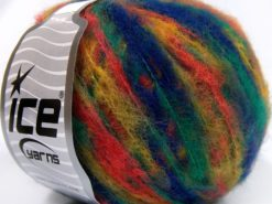 Lot of 8 Skeins Ice Yarns MOHAIR COLOR LIGHT (15% Mohair 10% Wool) Yarn Dark Blue Gold Green Salmon