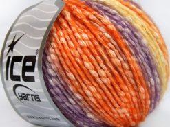 Lot of 8 Skeins Ice Yarns COTTON PASTEL (77% Cotton) Yarn Orange Purple Yellow