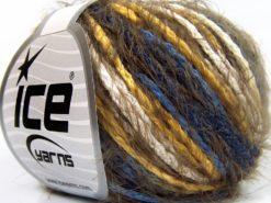 Lot of 8 Skeins Ice Yarns CLARA Hand Knitting Yarn Khaki Yellow White Blue