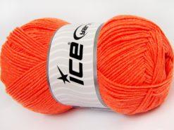 Lot of 4 x 100gr Skeins Ice Yarns LORENA (50% Cotton) Yarn Neon Orange