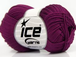 Lot of 6 Skeins Ice Yarns GIZA COTTON Hand Knitting Yarn Dark Burgundy